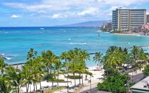 Лето, город, пальмы, море, пляж, люди