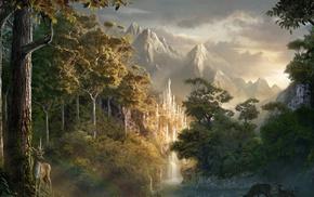 красивые, река, природа, олени, горы, деревья
