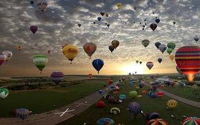 красивые, воздушные шары, природа, закат, дорога, облака