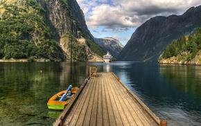 sea, water, Norway, ship, bay
