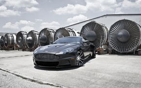 sportcar, road, Aston Martin, auto, clouds