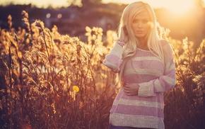 girls, blonde, nature, posing, Sun