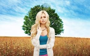 girl, tree, sky, blonde, field