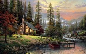 sunset, mountain, painting, river, stunner