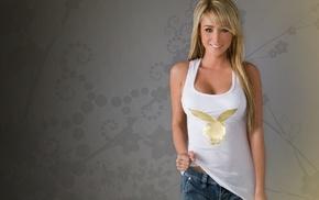 blonde, girls, tank top, jeans