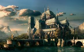 castle, river, stunner, forest, mountain