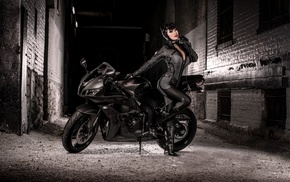 motorcycle, black, bike, girls