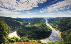 вода, природа, небо, изгиб реки, горы, река
