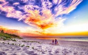 sky, children, beach