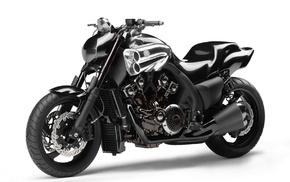 скорость, Ямаха, колеса, черный, двигатель, мотоциклы