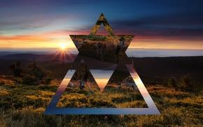 солнечные лучи, восход, пейзаж, треугольник