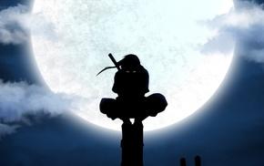 anime, ANBU, utility pole, moon, silhouette, Uchiha Itachi