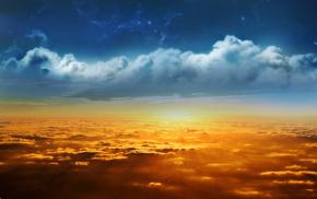 stars, stunner, light, clouds, Sun