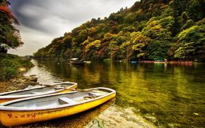 деревья, природа, лодка, вода, красота, лес