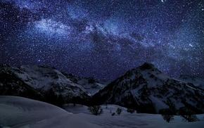 stars, sky, nature, snow, mountain, starry night