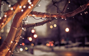 city, cityscape, bokeh, trees, lights, winter