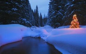 река, ночь, снег, пейзаж, Рождество