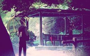 umbrella, anime, artwork, garden, trees, The Garden of Words
