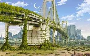 Japan, artwork, nature, anime, apocalyptic, city