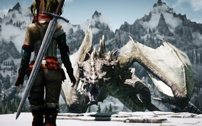 3D, девушка, скриншот, дракон, the elder scrolls v skyrim