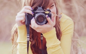 girl, pentax, brunette, Hipster Photography, photography, camera