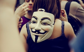 back, Guy Fawkes mask, Anonymous