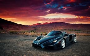 Ferrari, sportcar, sunset, nature, black