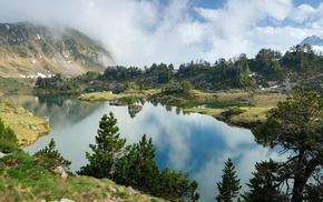 отражение, природа, деревья, пейзаж, горы