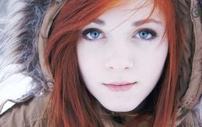 девушки на открытом воздухе, рыжие, девушка, голубые глаза, лицо