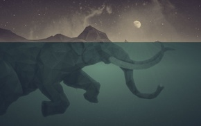 water, boat, artwork, elephants, fantasy art, low poly