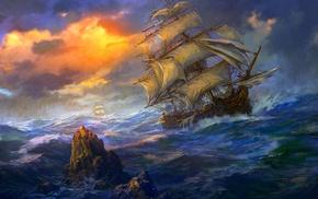 ships, Sun, ocean, stunner, storm