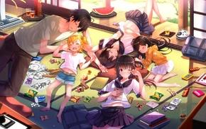 парни из аниме, девушки из аниме, школьная форма, сон, аниме