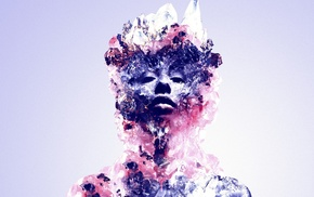 face, crystal, abstract, Justin Maller, digital art