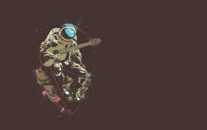 asteroid, astronaut, guitar, minimalism, space