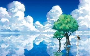 sea, clouds, original characters, anime girls, trees