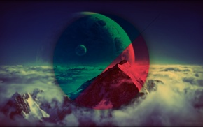 mountain, space, geometry, vignette, shapes, colorful