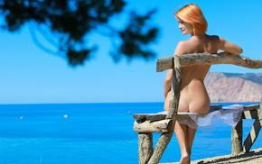 summer, pose, red hair, Sun, ocean