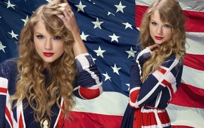 blonde, Taylor Swift, girl, American flag