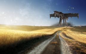 space, field, aliens, road, fantasy art, Falling Skies