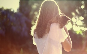girl, back, cat, sunlight, animals, bokeh