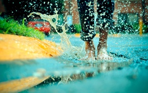splashes, water drops, barefoot, puddle, legs