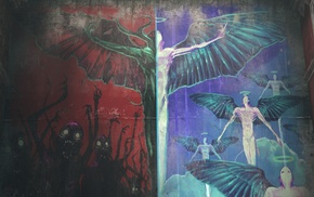 Heaven  Hell, graffiti, DmC Devil May Cry, Halo, wings, walls