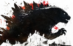 artwork, paint splatter, Alex Cherry, Godzilla