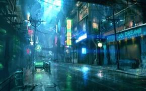 cyberpunk, ship, artwork, neon