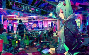 Vocaloid, Hatsune Miku, train station, cyberpunk, headphones, pink