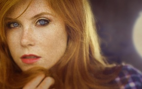 face, redhead, blue eyes, depth of field, girl, Vanessa
