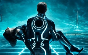 white, blue, Tron