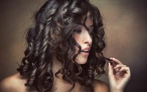 curly hair, face, girl, brunette