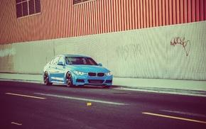 машина, БМВ, синие машины, дорога
