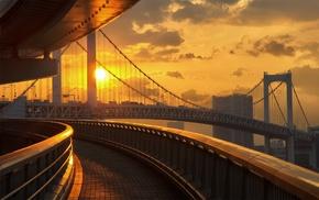 road, Japan, sunset, Sun, bridge, Tokyo